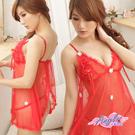 天使霓裳 俏麗小花‧薄紗連身性感睡衣 兩件組(紅)