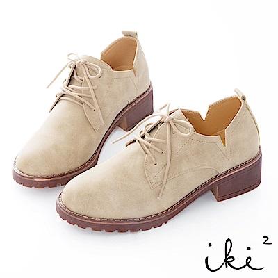 iki2 舒適粗跟造型側V切口休閒鞋-米