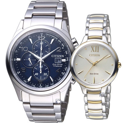 CITIZEN 發現幸福光動能腕錶(CA0650-82L EM0554-82X)藍+米色