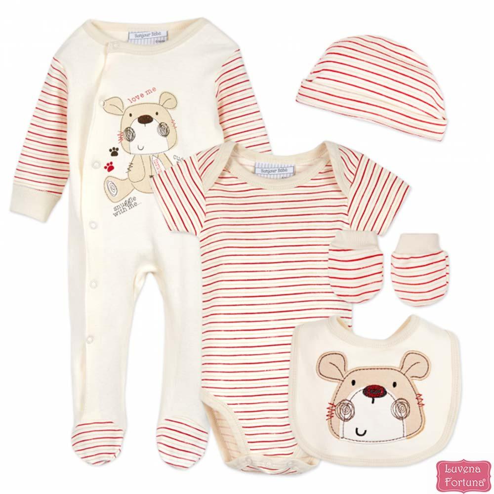 LILY & JACK 英國 紅白條紋小熊款5件超值套裝組合