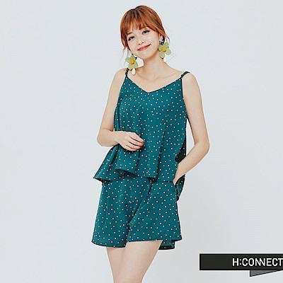 H:CONNECT 韓國品牌女裝-兩件式甜美小圓點套裝-綠