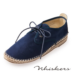 Chichi 舒適休閒 絨布綁帶草編休閒鞋*深藍色