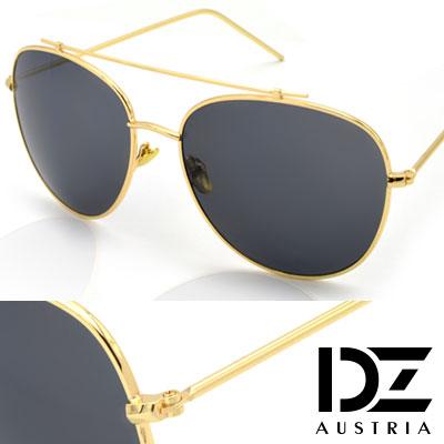 【2件59折】DZ 夏潮細線樑 抗UV太陽眼鏡造型墨鏡(金框灰片)