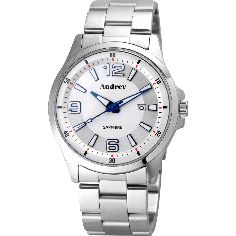Audrey 歐德利 薄型設計紳士腕錶(AUM2593)-銀/42mm
