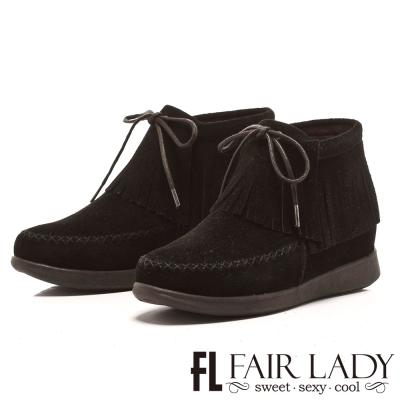 Fair Lady 民族風情流蘇綁帶麂皮短靴 黑