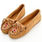 MINNETONKA 沙棕色麂皮串珠小雷鳥莫卡辛 女鞋 (展示品)