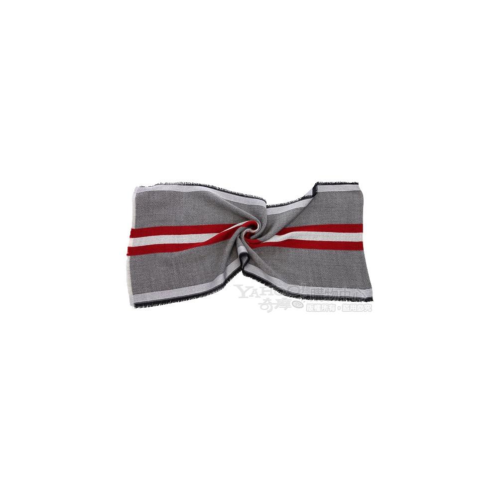 BALLY 紅白條紋綴飾圍巾(灰色)