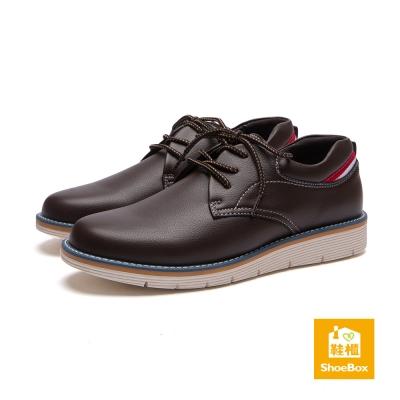 鞋櫃ShoeBox-男鞋-休閒鞋-厚底綁帶皮革休閒鞋-咖啡