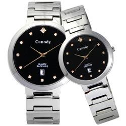 Canody 極度時尚都會對錶-黑/金鑽/39+29mm