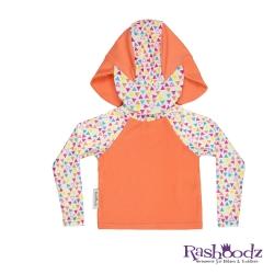 澳洲 RASHOODZ 兒童抗UV防曬半身泳衣附遮陽帽 (繽紛三角形)