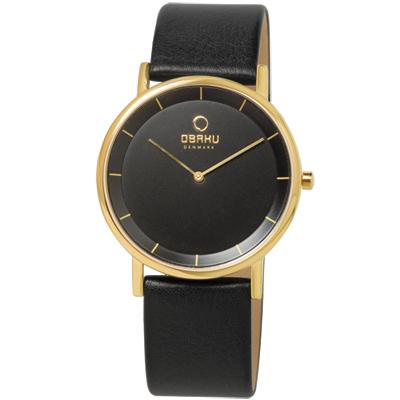 OBAKU 纖薄哲學二針時尚腕錶-黑金/38mm