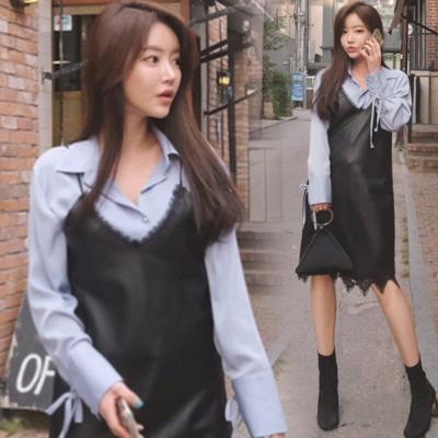 正韓-蕾絲花紋點綴V領細肩洋裝-黑-Pink東大門