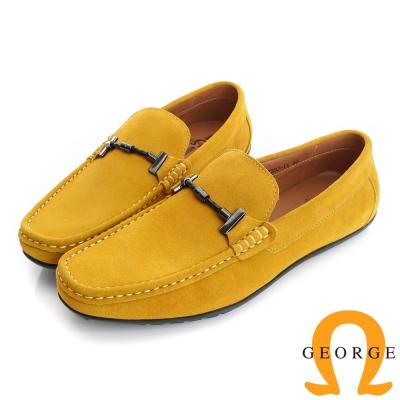GEORGE 喬治-真皮結飾縫線樂福鞋休閒鞋(男)-黃色