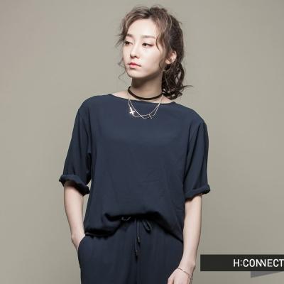 H-CONNECT-韓國品牌-女裝-簡約素面時尚套裝-藍-快