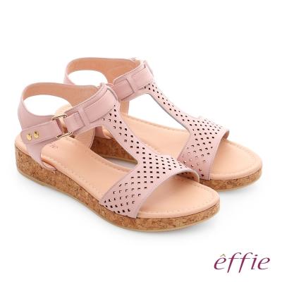 effie 嬉皮假期 真皮超輕透氣夏色涼拖鞋 粉紅色
