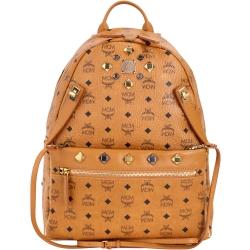 MCM DUAL STARK 品牌圖騰設計兩用後背包(中/棕色)
