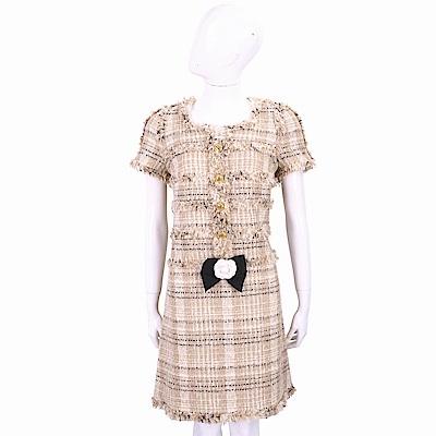 EDWARD ACHOUR PARIS 羊毛米駝色粗花呢山茶花洋裝