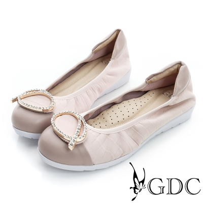 GDC百搭-粉彩鱷魚紋水鑽拼接真皮厚底娃娃鞋-粉色