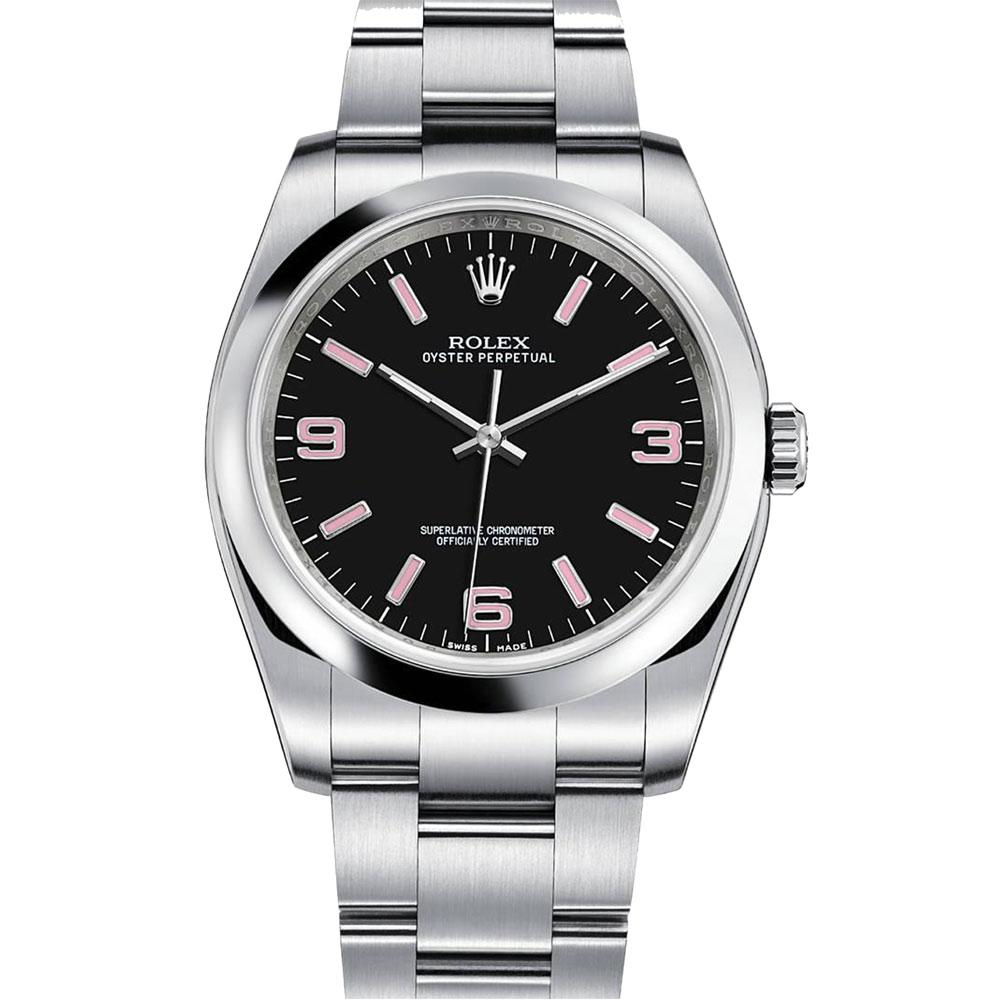 ROLEX 勞力士 116000 3.6.9時尚黑面粉紅字腕錶-36mm