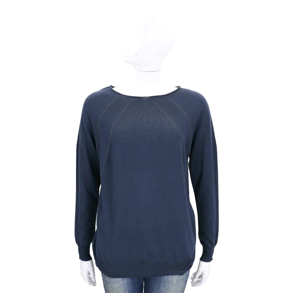 FABIANA FILIPP 深藍色條紋飾美麗諾羊毛針織上衣(100%WOOL)