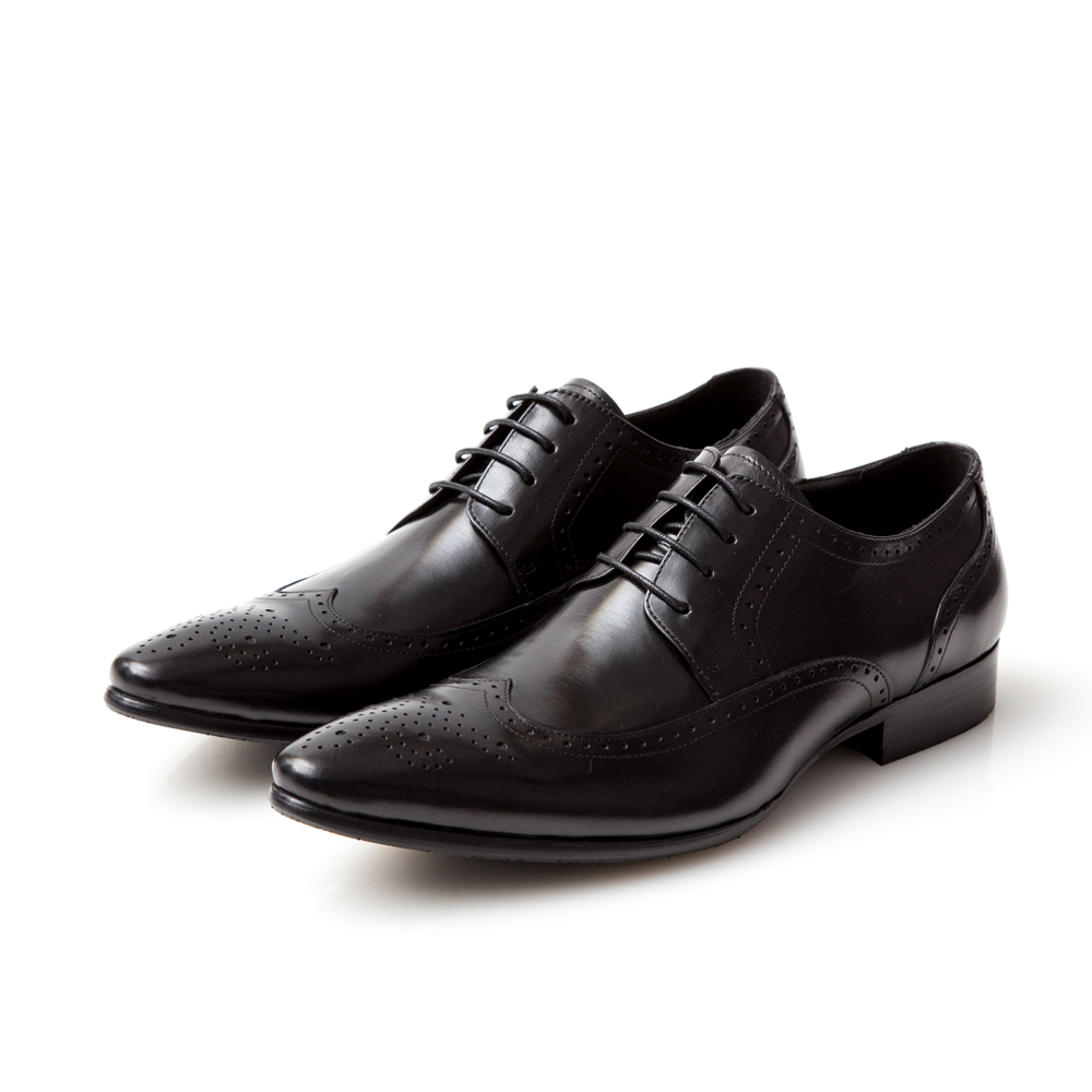 ALLEGREZZA-真皮男鞋-時尚型格-真皮藝紋雕花尖頭綁帶鞋  黑色
