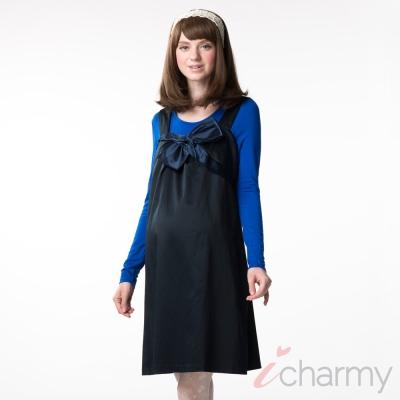 愛俏咪I charmy 深藍滑布亮面感氣質打摺蝴蝶結側拉鍊背心洋裝