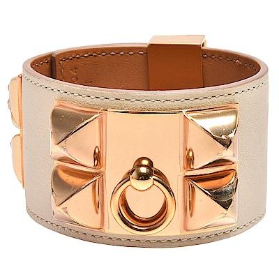 HERMEScollier de chie金屬鉚釘Swift小牛皮寬版手環(S-淺駝X金)