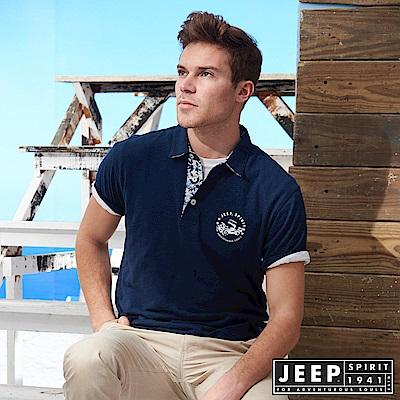 JEEP 夏日風情素面短袖POLO衫-藍色