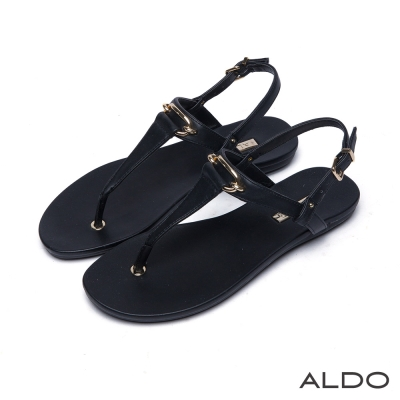 ALDO-原色T字幾何方形金屬釦拉帶式涼鞋-尊爵黑色