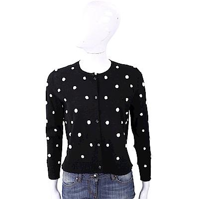 MARELLA 100%小羊毛黑色立體撞色毛球開襟羊毛衫
