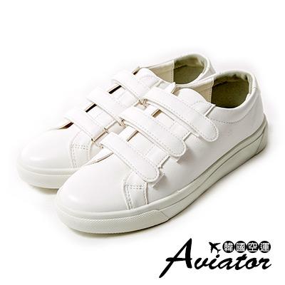 Aviator*韓國空運。正韓製皮革三帶魔鬼氈小白鞋-白