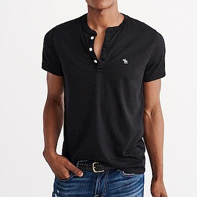A&F 經典刺繡麋鹿亨利素色短袖T恤-黑色 AF Abercrombie