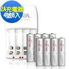 Fujitsu  4號750mAh充電電池(8顆入)+VXTRA 2A充電器