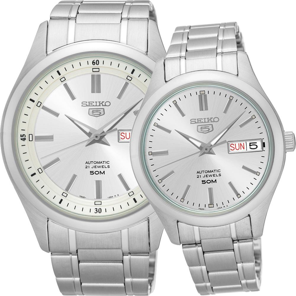 SEIKO精工5號盾牌日曆機械對錶SNKN85J1 SNK887J1-銀