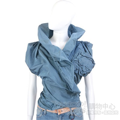 KENZO-antonio marras 藍色皺褶花朵飾綁帶上衣
