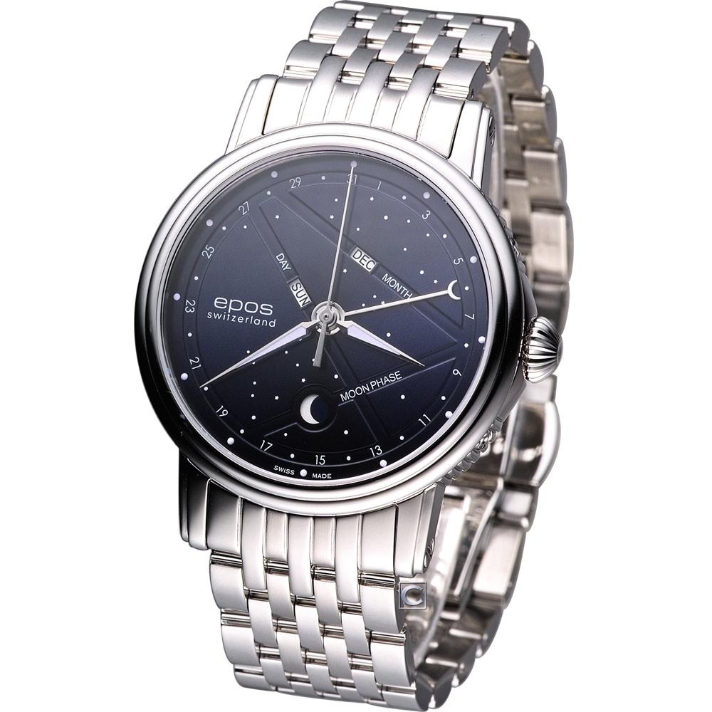 epos Emotion 星座月相盈虧 機械腕錶-深藍/41mm