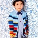 les enphants 繽紛條紋線衫外套/3-4號 藍色