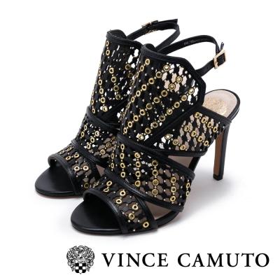 VINCE CAMUTO 華麗年代 真皮編織金屬扣繞踝高跟涼鞋-黑色