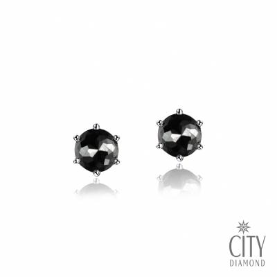 City Diamond【東京Yuki系列】鉑金黑鑽20分六爪耳環