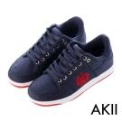 AKII韓國空運‧皇家徽章牛仔布內增高休閒鞋-藍