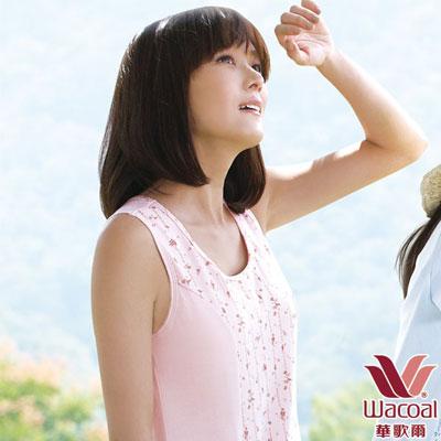 華歌爾-環保有機棉植物印素面M-3L圓領洋裝-茜草粉