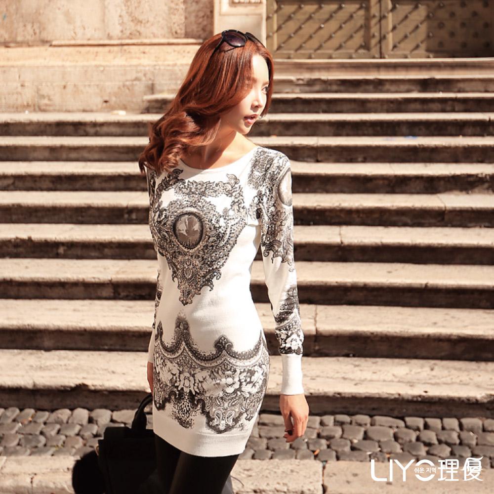LIYO理優圖騰印花長板針織上衣(白)