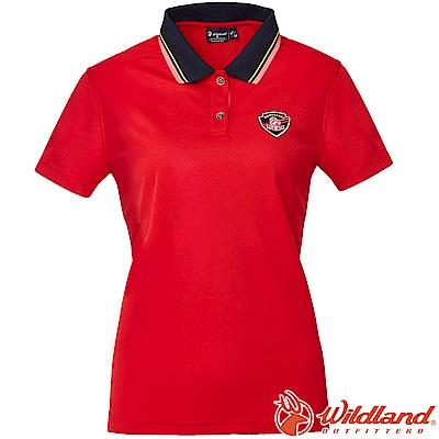 Wildland 荒野 0A61617-08紅色 女Coolmax排汗POLO衫