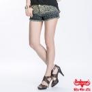 BOBSON 女款豹紋牛仔短褲(深藍195-53)