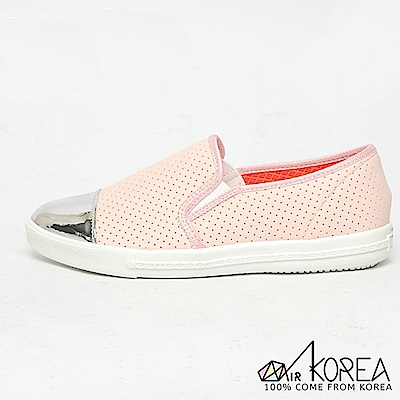 【AIRKOREA】韓國空運金屬尖頭皮革質感休閒懶人增高鞋 粉