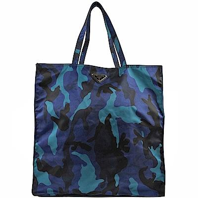 PRADA三角LOGO經典尼龍迷採購物包(深藍)