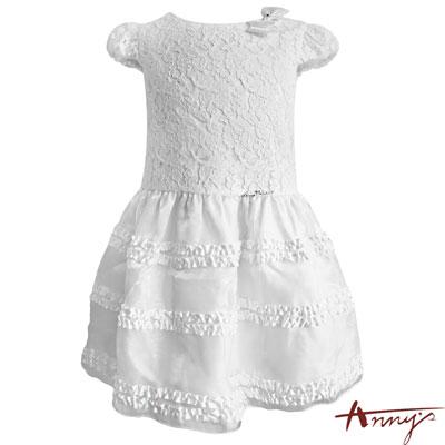 Annys高級花瓣蕾絲蝴蝶結緞質蓬蓬禮服*5202白