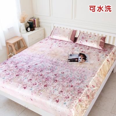 米夢家居 繽紛櫻花 紙纖冰絲涼蓆床包二件組 單人加大<b>3</b>.<b>5</b>尺