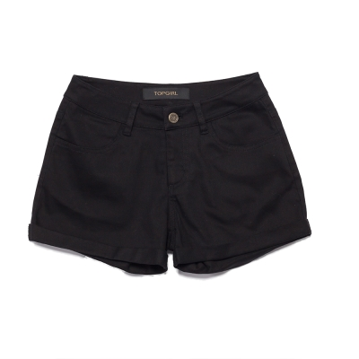 TOP-GIRL-繽紛玩色反摺短褲-黑