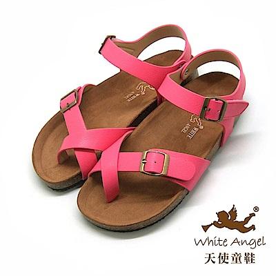 天使童鞋- 陽光羅馬氣墊夾腳親子拖鞋(超大童)J856-桃